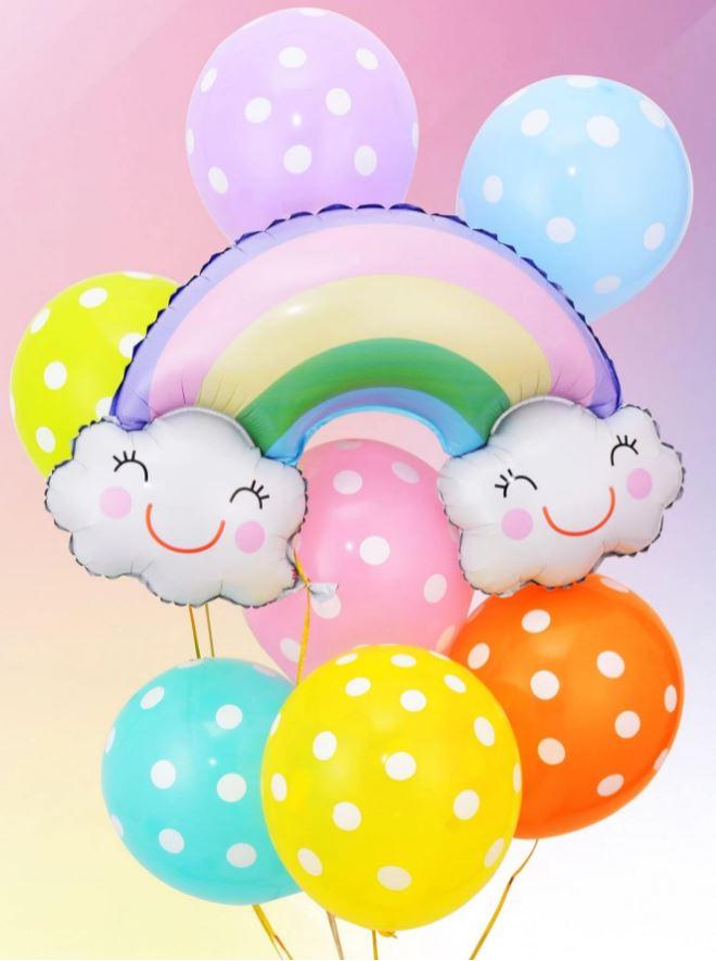 Kit de Balões Temático Nuvem Arco-Íris Decoração Infantil 8 Bexigas