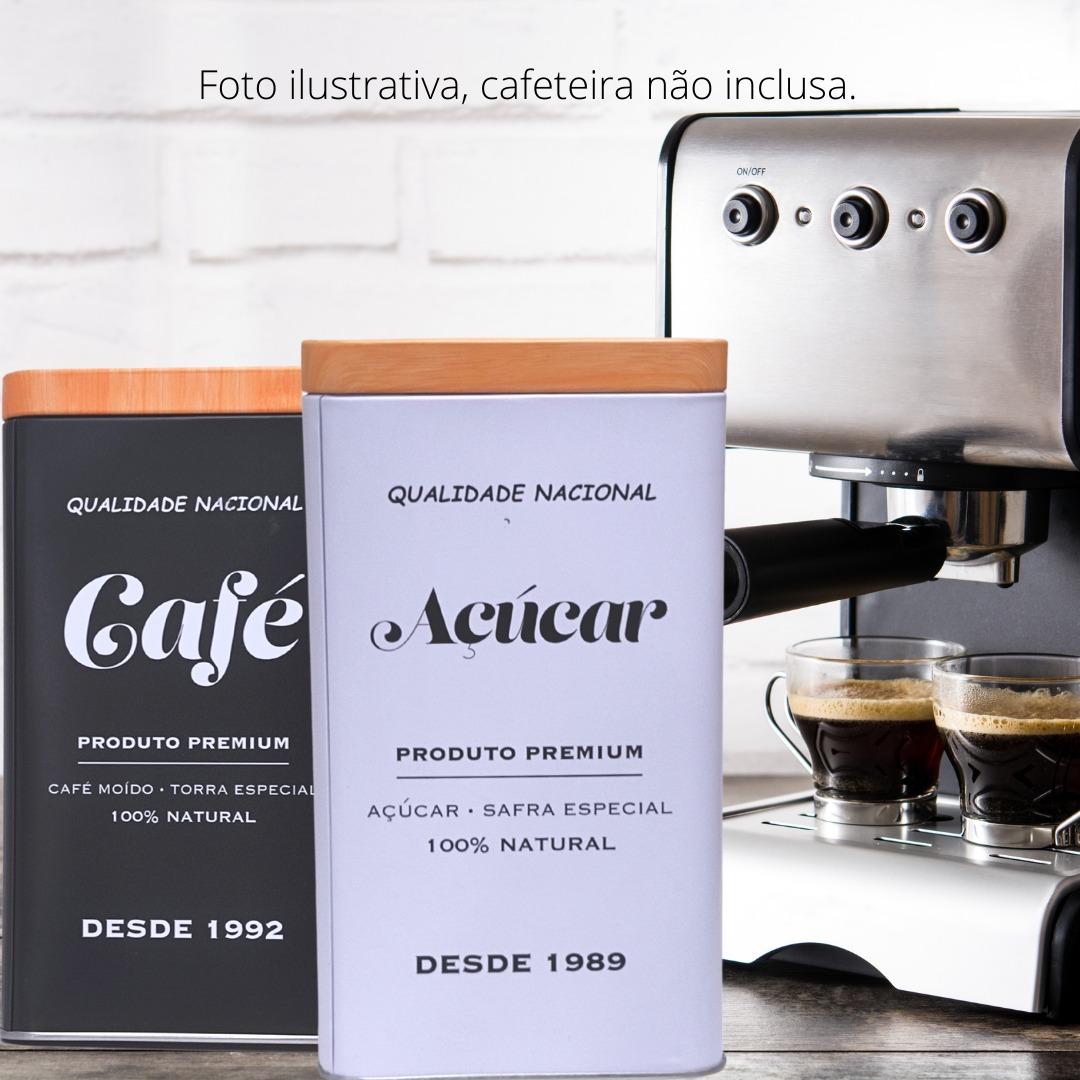 Conjunto de Potes Retro Café e Açúcar Porta Mantimento 2 Latas