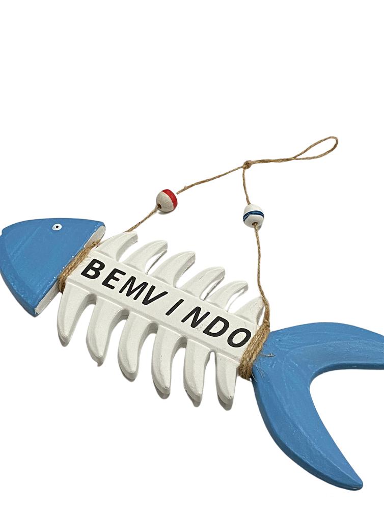 Peixe de Madeira Decorativo Azul e Branco - Bem Vindo