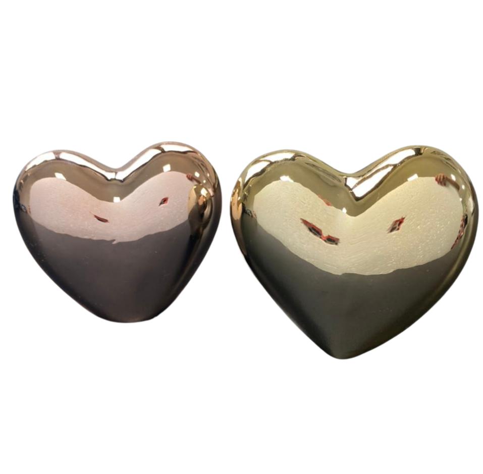 Enfeite de Coração de Porcelana Conjunto Dourado e Rosê