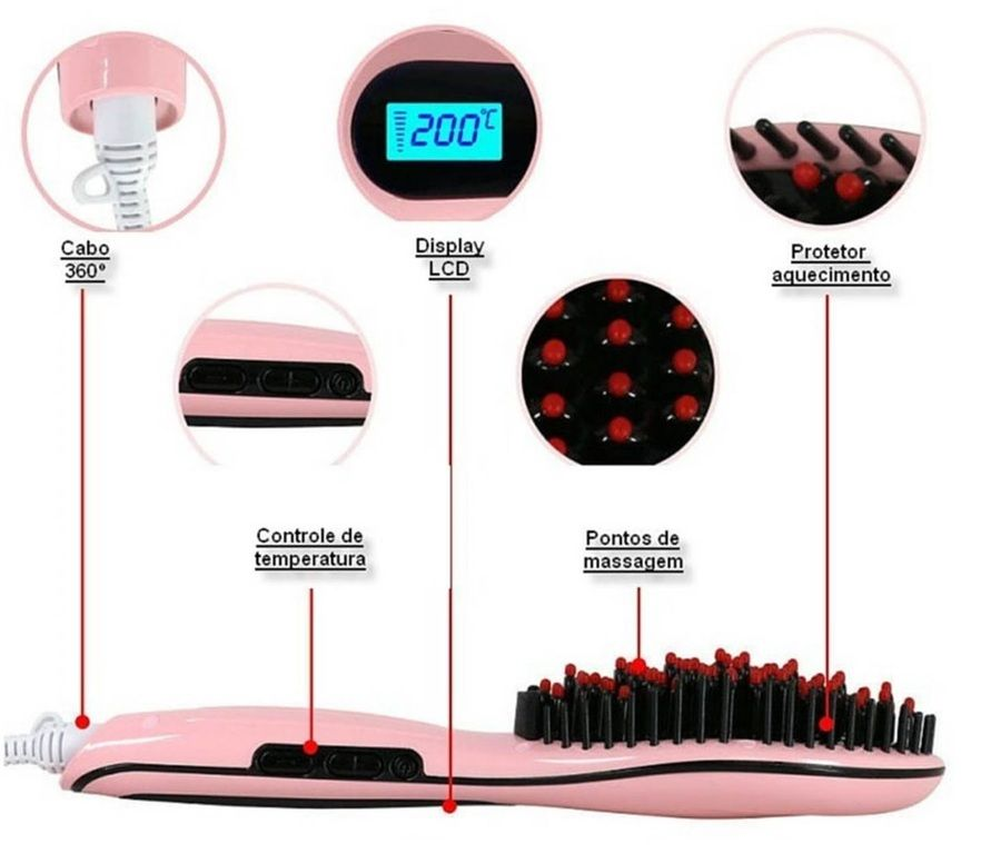 Escova Alisadora de Cabelo Magic Hair Elétrica Bivolt 230º LCD