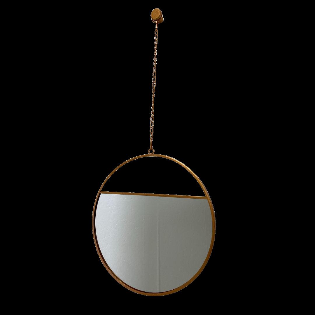 Espelho de Parede Alça de Corrente Metal Acobreado