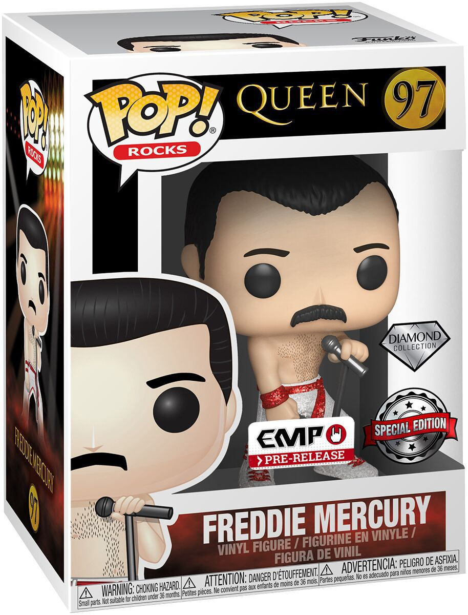 Funko Pop Freddie Mercury Queen 97 Diamond Collection Special Edition Boneco Colecionável