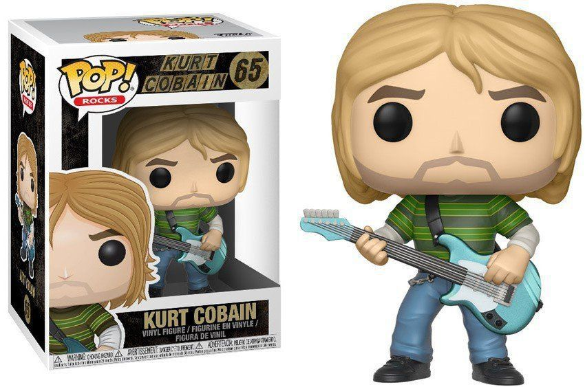 Funko Pop Rocks Kurt Cobain 65 Nirvana Boneco Colecionável
