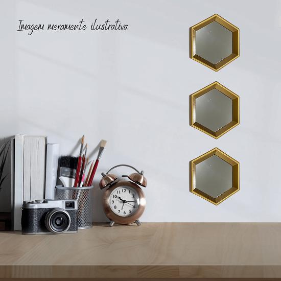 Jogo de Espelhos Trio de Moldura Dourada Geométrico Colméia