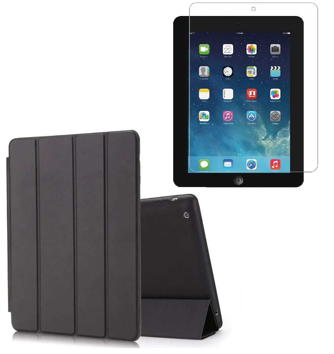 Kit Capa Ipad 2 3 4 Apple 2011/2012 Smart Case Premium + Vidro