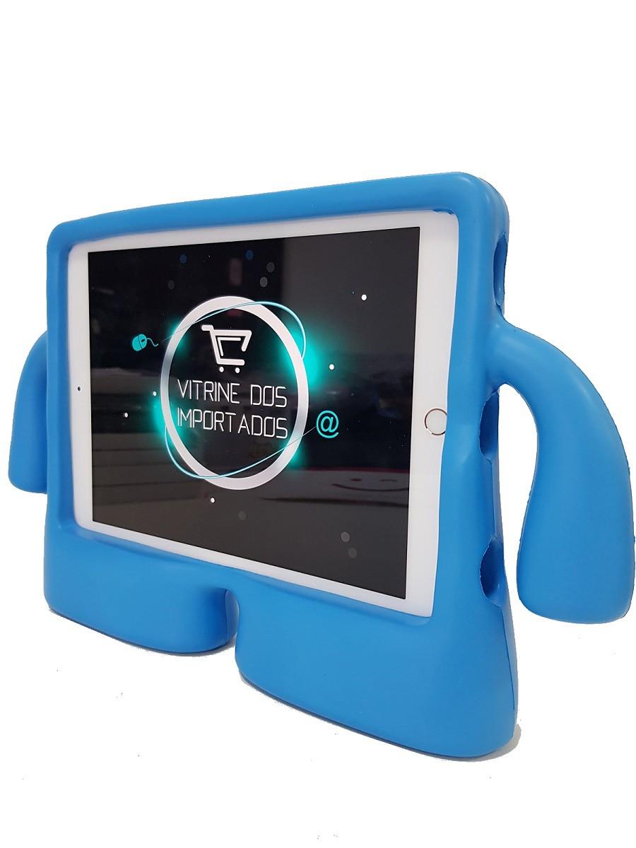 Kit Capa Ipad 6 A1893 A1954 Infantil Boneco Iguy Azul + Película de Vidro
