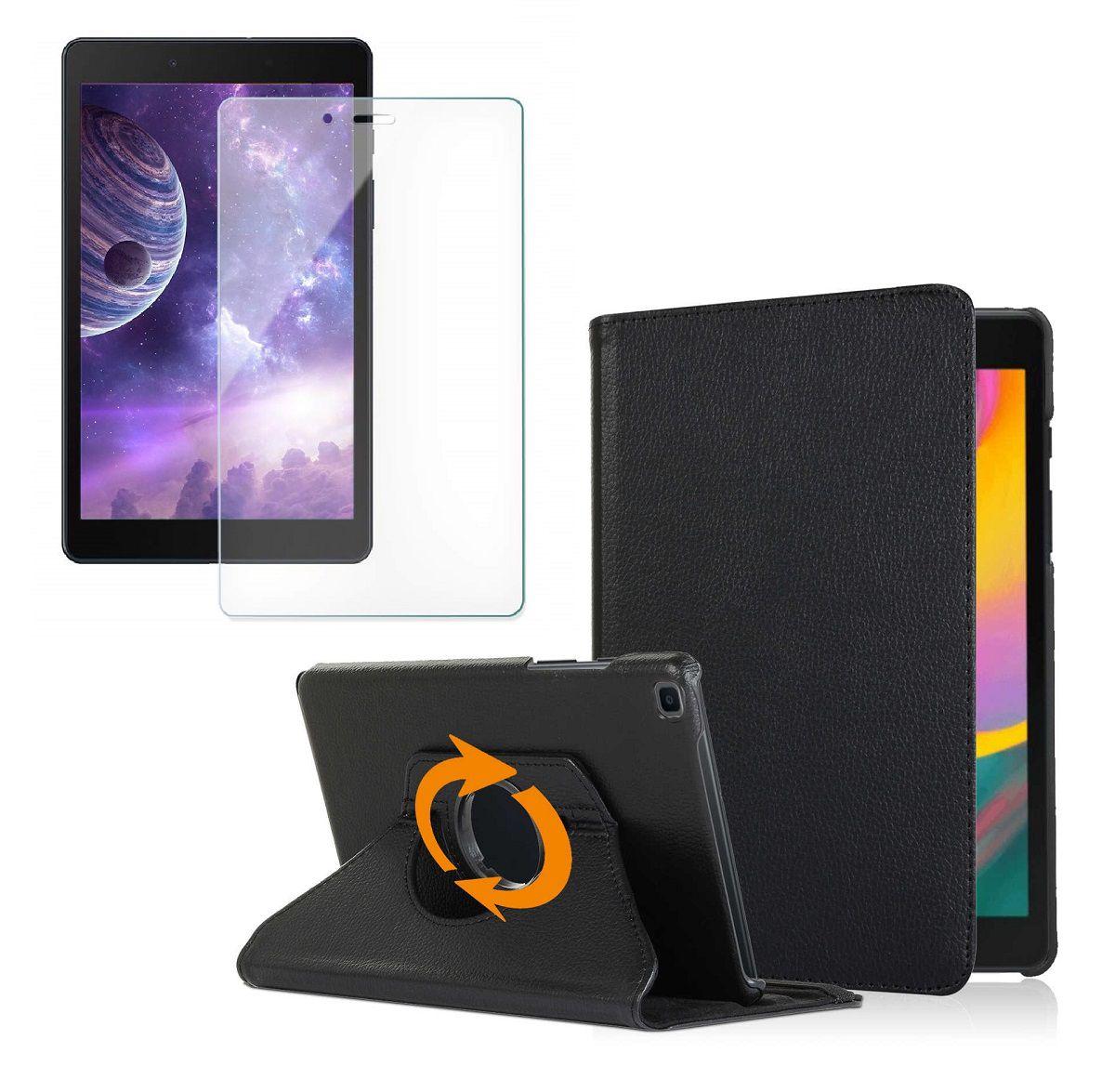 Kit Capa Tablet Samsung Galaxy Tab A 8 T290 T295 Executiva Giratória + Película de Vidro