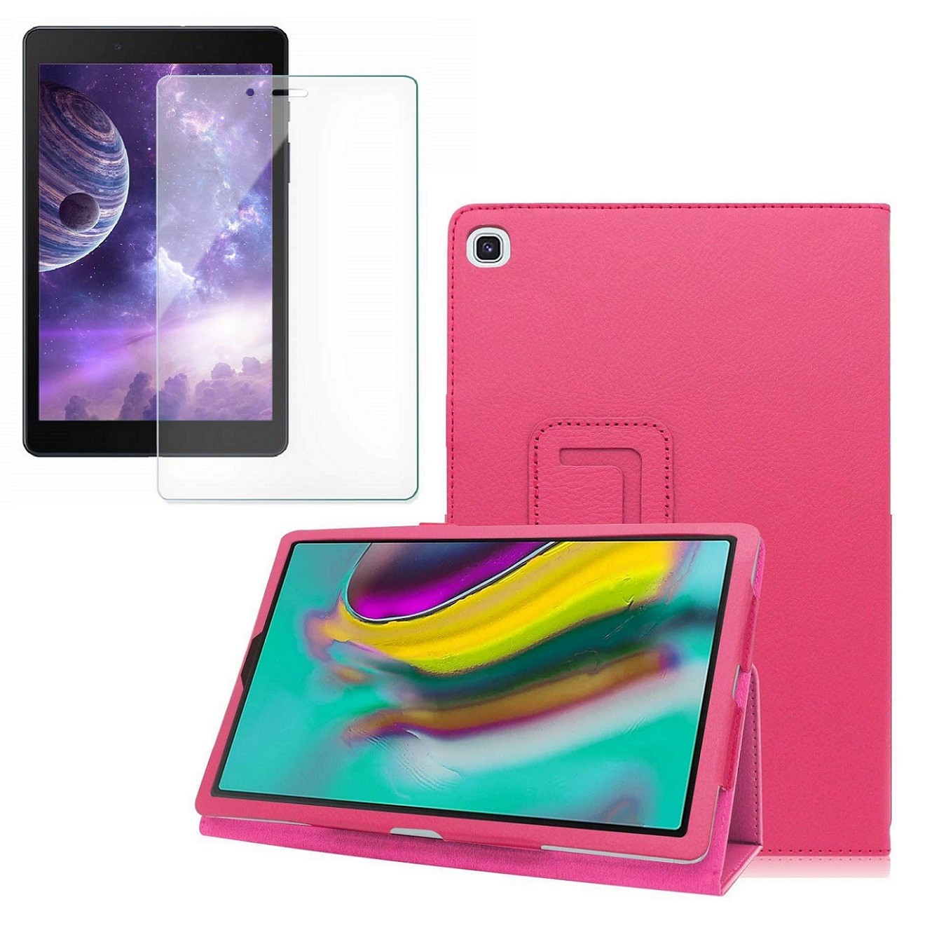 Kit Capa Tablet Samsung Galaxy Tab A 8 T290 T295 T297 Magnética Rosa + Película de Vidro