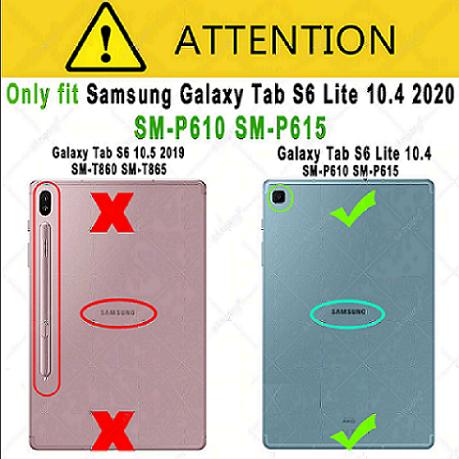 Kit Capa Tablet Samsung Galaxy Tab S6 Lite 10.4 P615 P610 Magnética + Película de Vidro