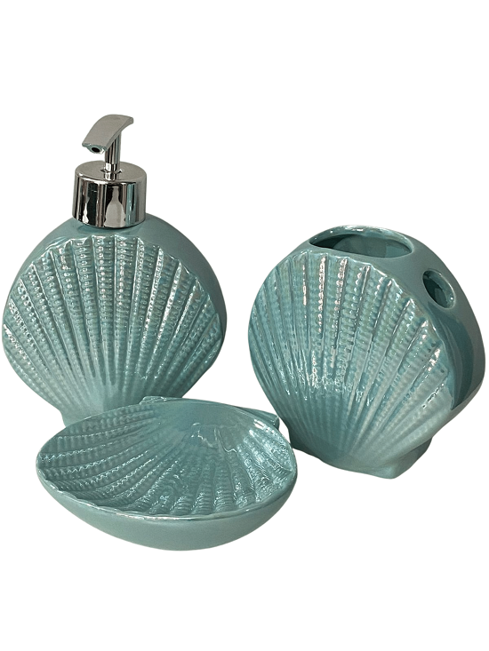 Kit de Banheiro Concha de Praia Ariel Shell Azul Perolado 3 pçs