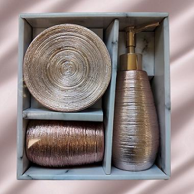 Kit de Banheiro em Porcelana Luxo Acobreado 3 peças Design