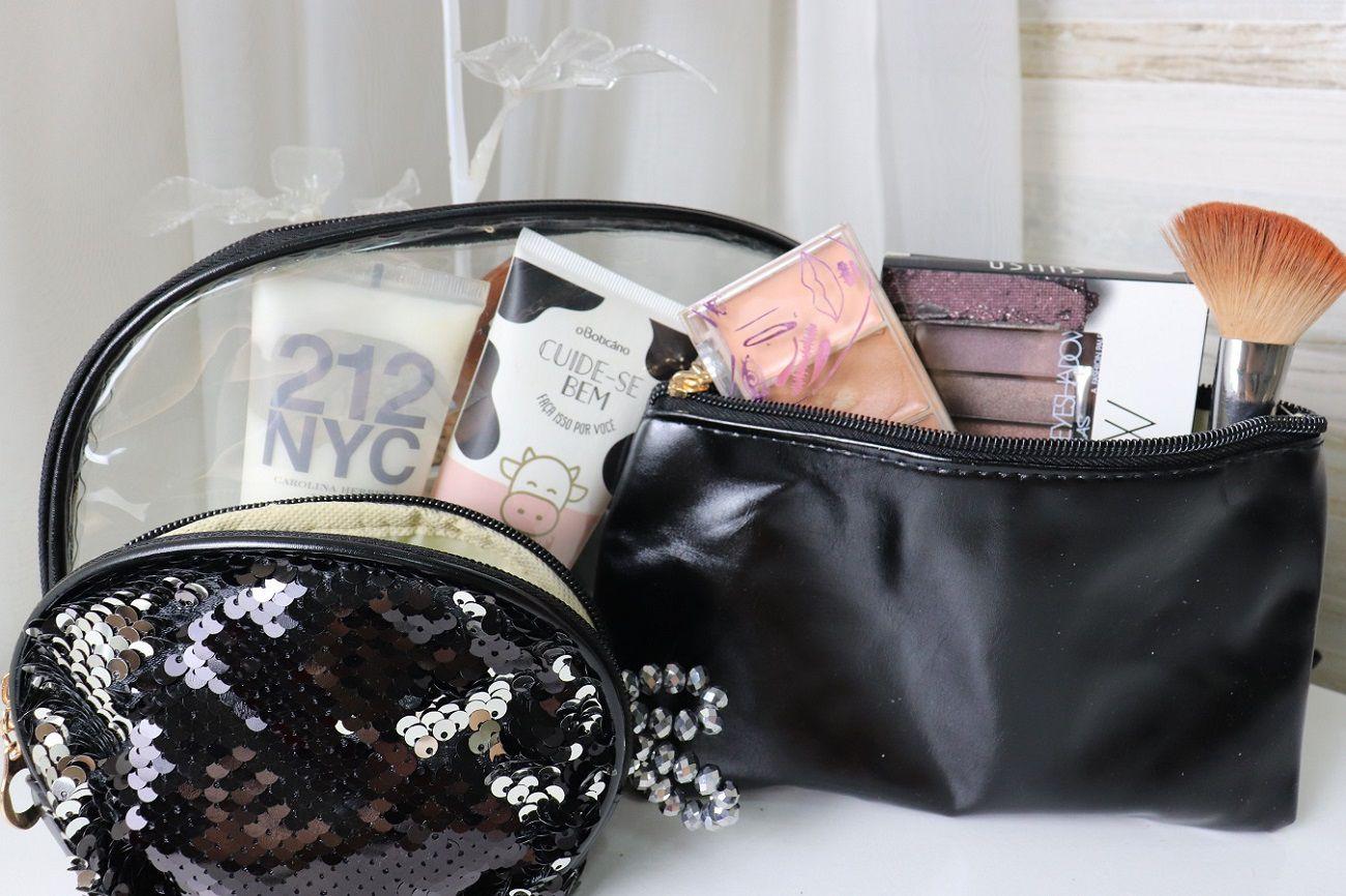 Kit de Frasqueira Necessaire Organização de Maquiagem Bijuteria Viagem