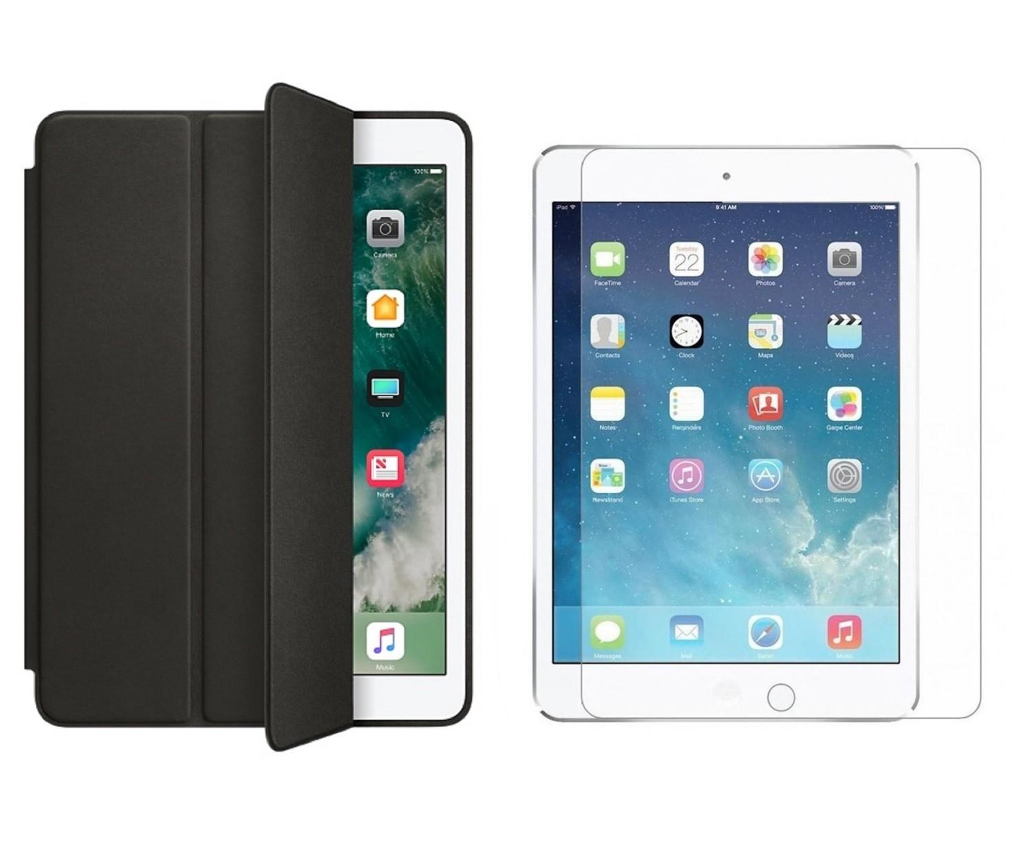 Kit Smart Case Ipad 5 Tela 9.7 A1822 A1823 Preta + Película de Vidro