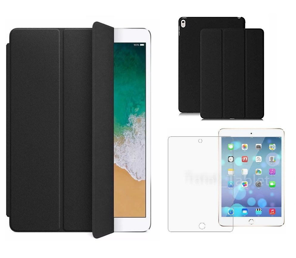 Kit Smart Case Ipad Pró 12.9 Apple 2017 Sensor Sleep Preta + Película de Vidro