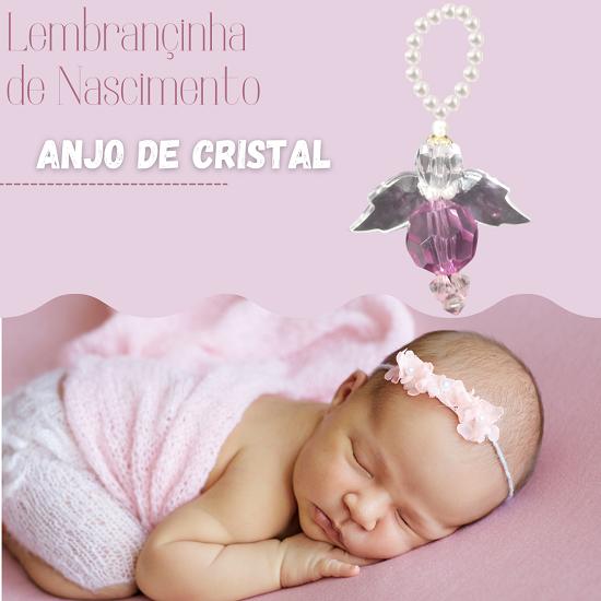 Lembrançinha de Maternidade Batizado Chá de Bebê Menina Anjo de Cristal Rosa