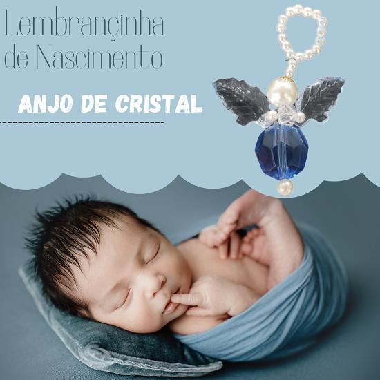 Lembrançinha de Maternidade Batizado Chá de Bebê Menino Anjo de Cristal Azul