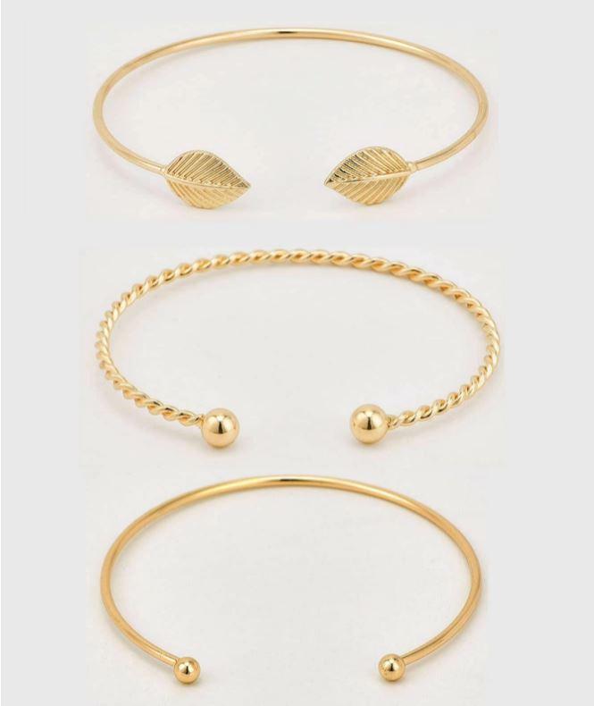 Mix de Pulseiras Folha Dourado Kit 3 Braceletes Tendência Moda