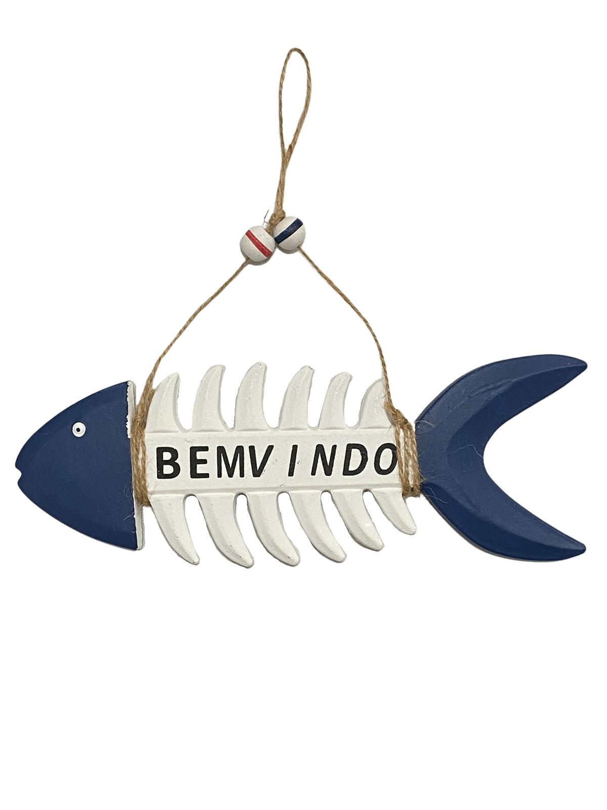 Peixe de Madeira Decorativo Azul Marinho e Branco - Bem Vindo