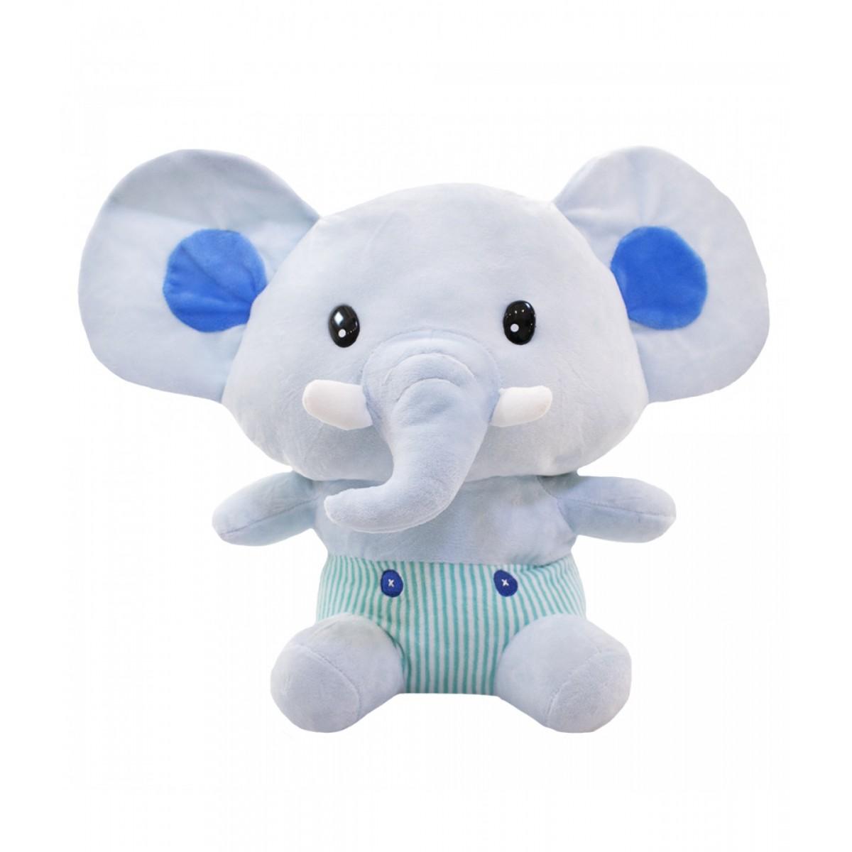 Pelúcia de Elefante Bebê Azul 30cm Poliéster