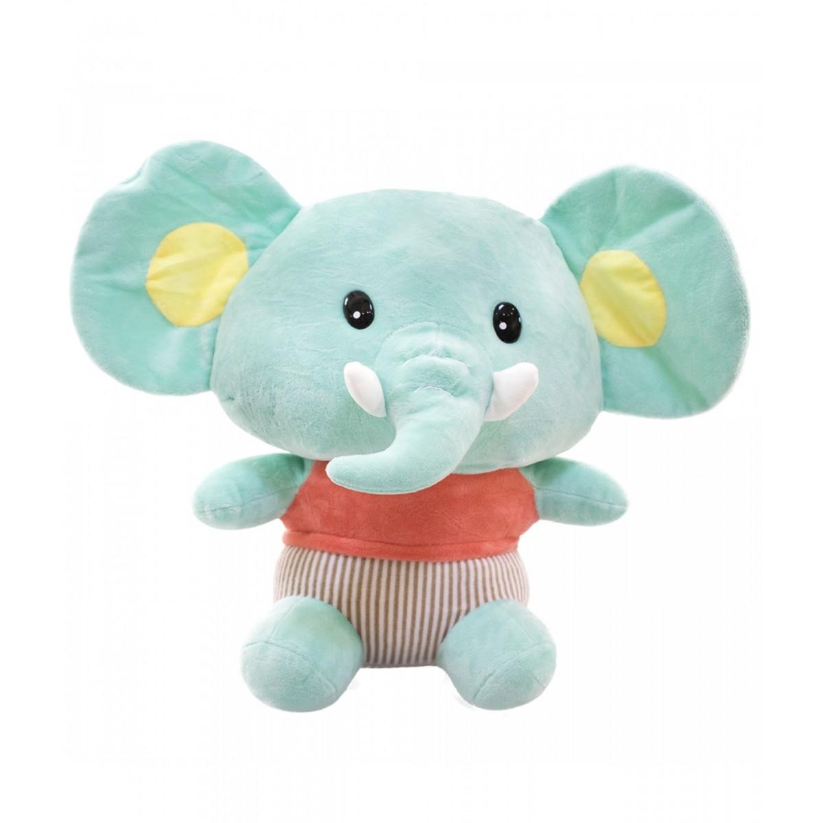 Pelúcia de Elefante Bebê Verde 30cm Poliéster