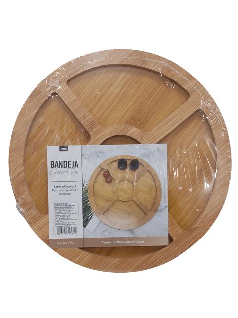 Petisqueira Redonda de Madeira Bandeja 5 divisórias 26cm