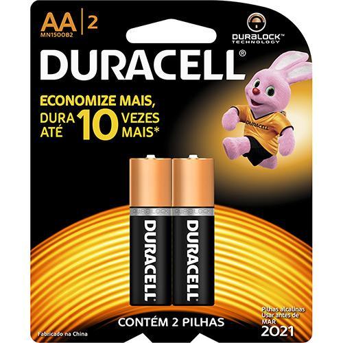 Pilha Alcalina Duracell Cartela 2 AA Pequena Duralock