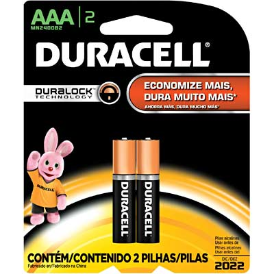 Pilha Alcalina Duracell Cartela 2 AAA Palito Duralock