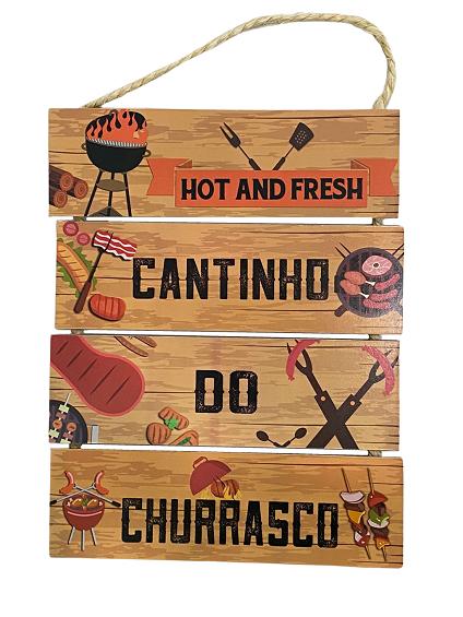 Placa Decorativa de Madeira Cantinho do Churrasco