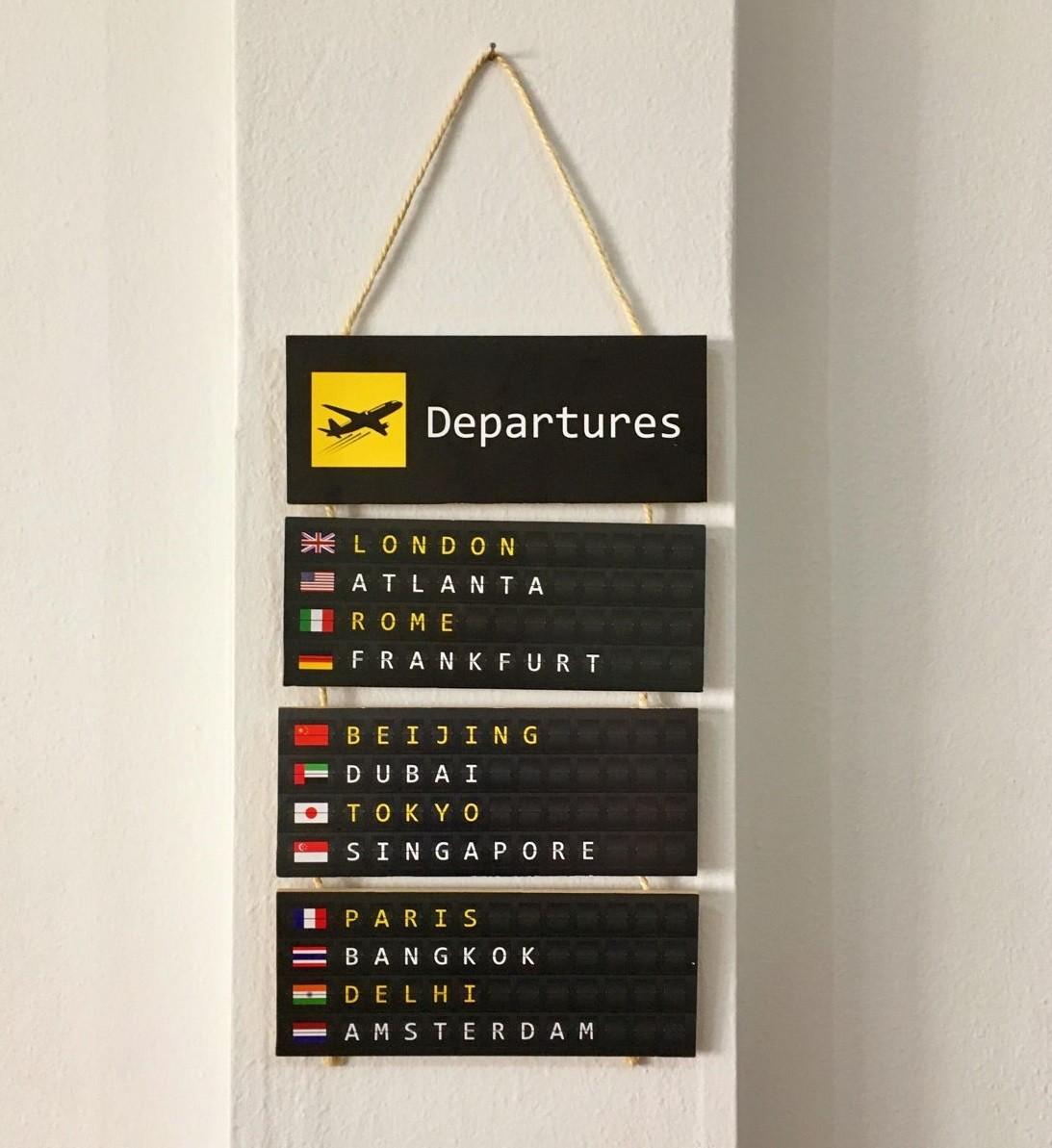 Placa Decorativa de Madeira Painel de Embarque Departures Viagem