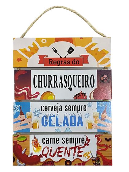 Placa Decorativa de Madeira Regras do Churrasqueiro