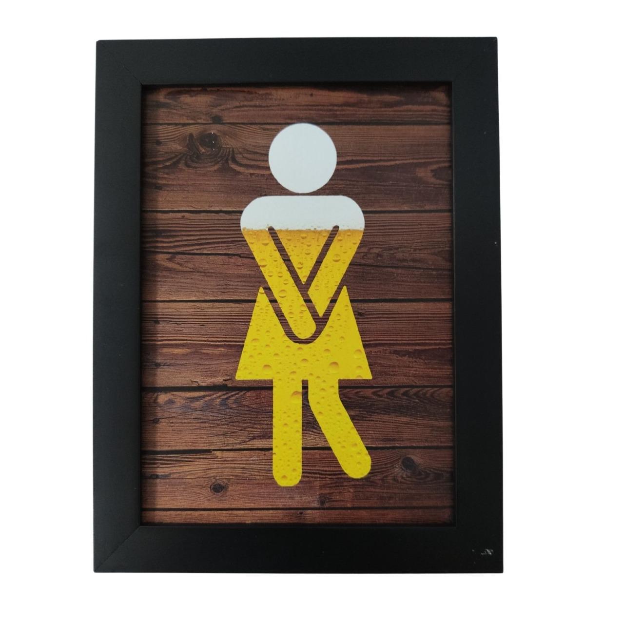 Placa Indicativa de Banheiro Toalete Criativo para Bar e Restaurante - Mulher / Feminino