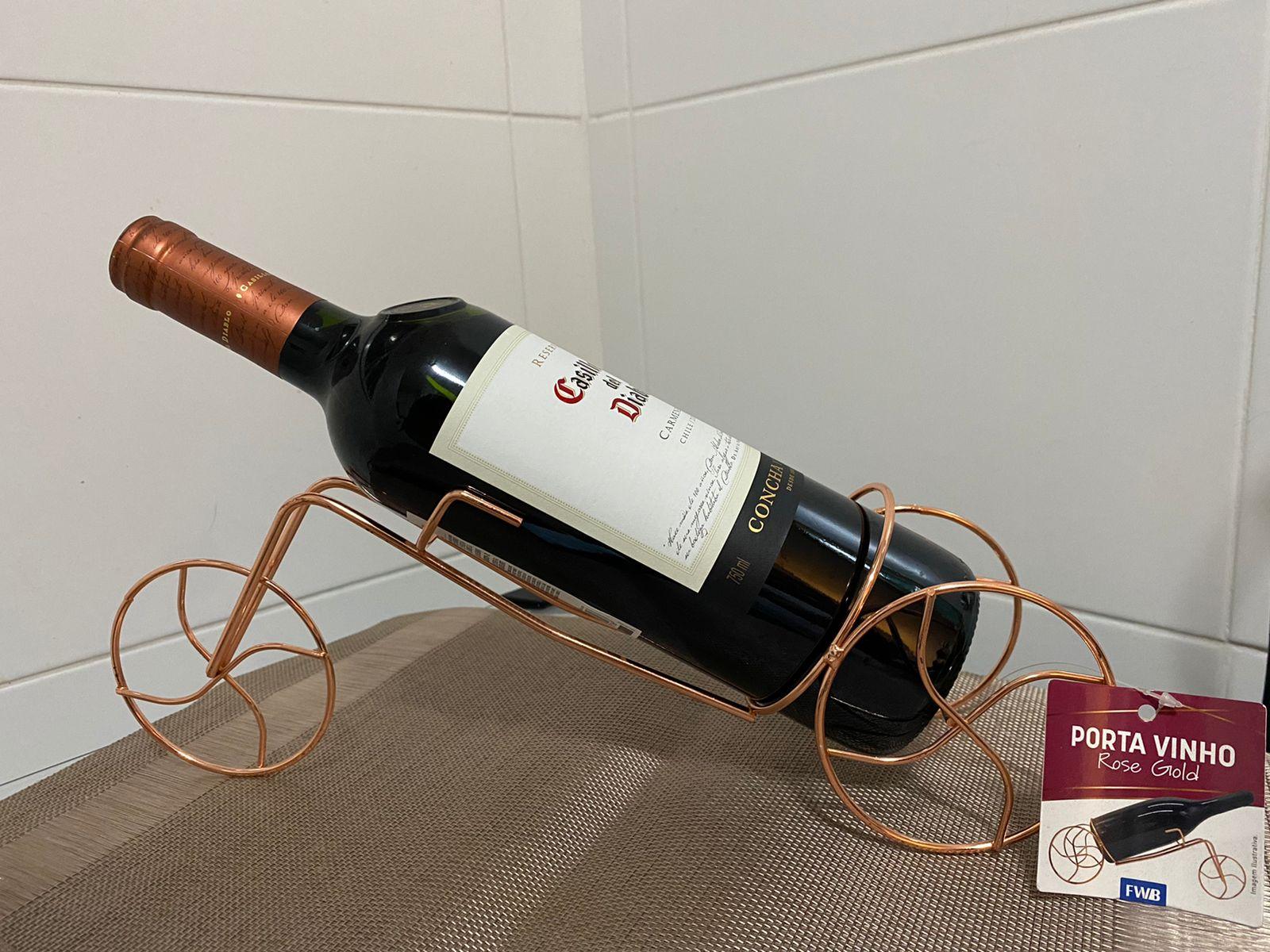 Porta Garrafa de Vinho Aramado Acobreado Rose Gold Formato Bicicleta