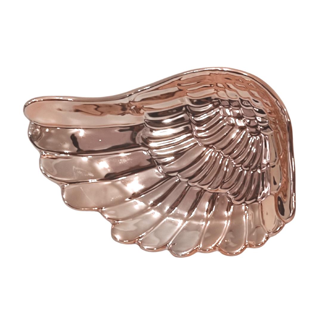 Porta Jóias e Acessórios Formato Asa de Porcelana Rose Gold Angel