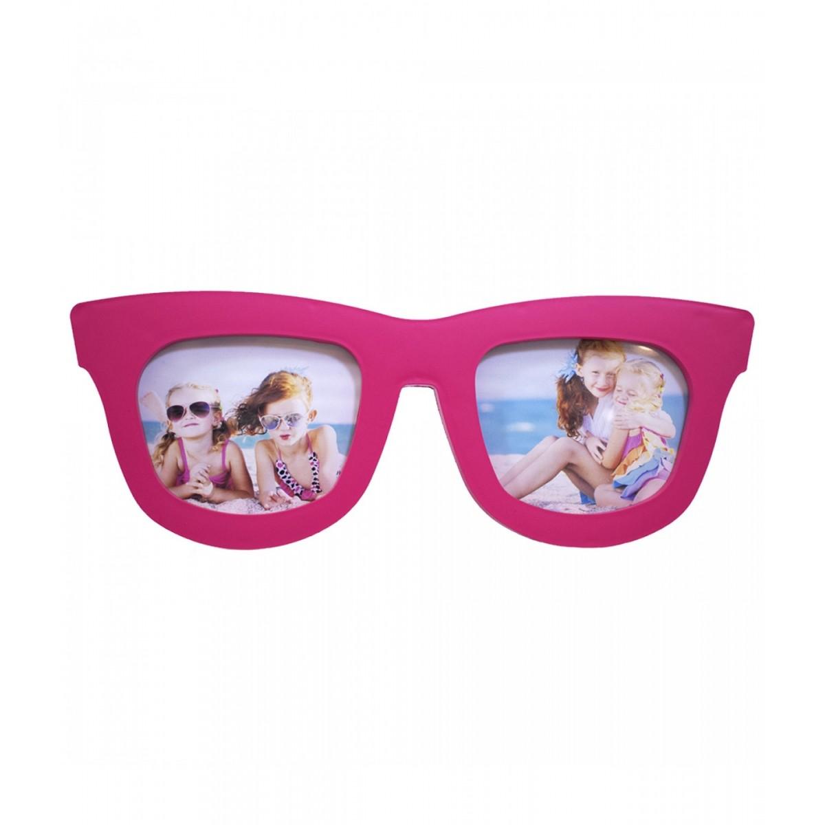 Porta Retrato Estiloso Formato de Óculos Rosa p/ 2 Fotos