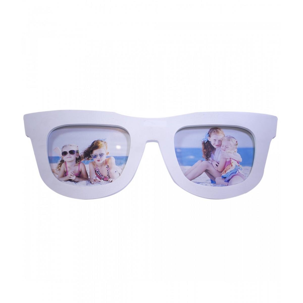Porta Retrato Estiloso Formato de Óculos Branco p/ 2 Fotos