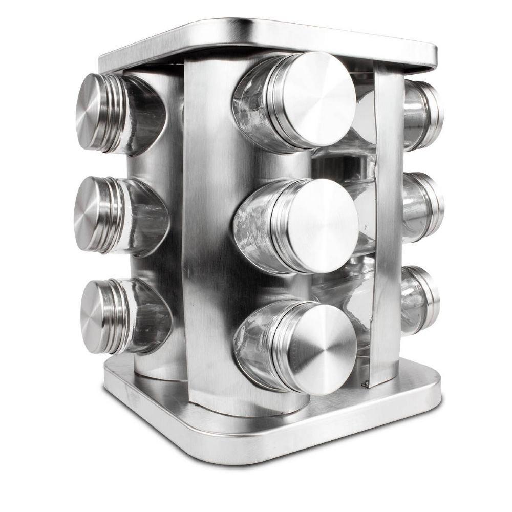 Porta Temperos Condimento 12 peças Aço Inox Frasco de Vidro Rotativo