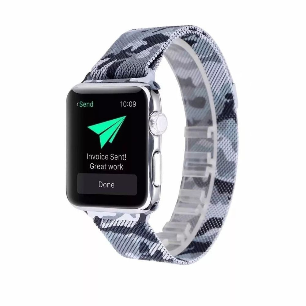 Pulseira Apple Watch Series 5 Metal Camuflada Militar 42mm 44mm
