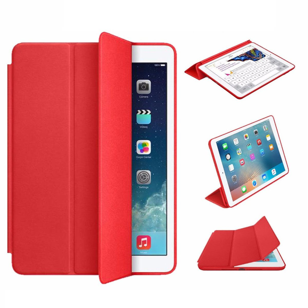 Smart Case Ipad 7 Tela 10.2 Ano 2019 A2197 A2198 A2199 Vermelha