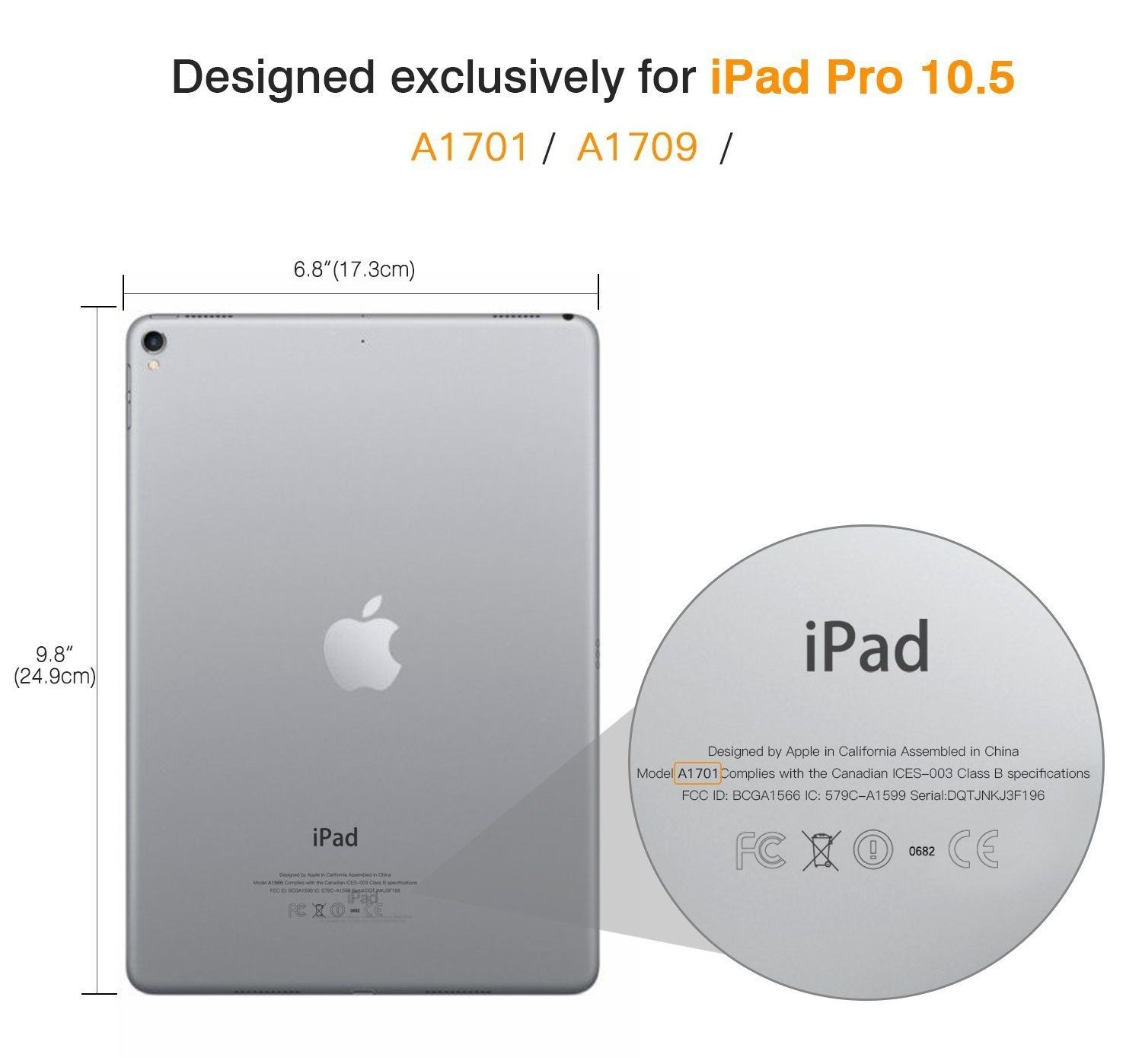 Smart Case Ipad Pró 10.5 Apple 2017 A1701 A1709 Sensor Sleep Preta