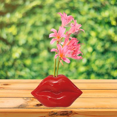Vaso Decorativo de Cerâmica Formato Lábios Vermelhos Lips