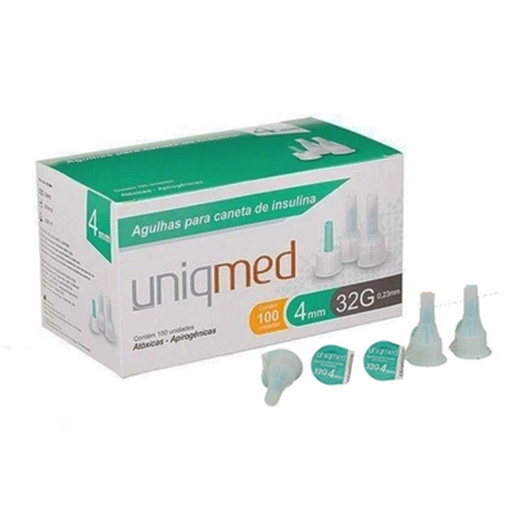 Agulha para Caneta de Insulina c/100 Unidades 4mm 32G Uniqmed