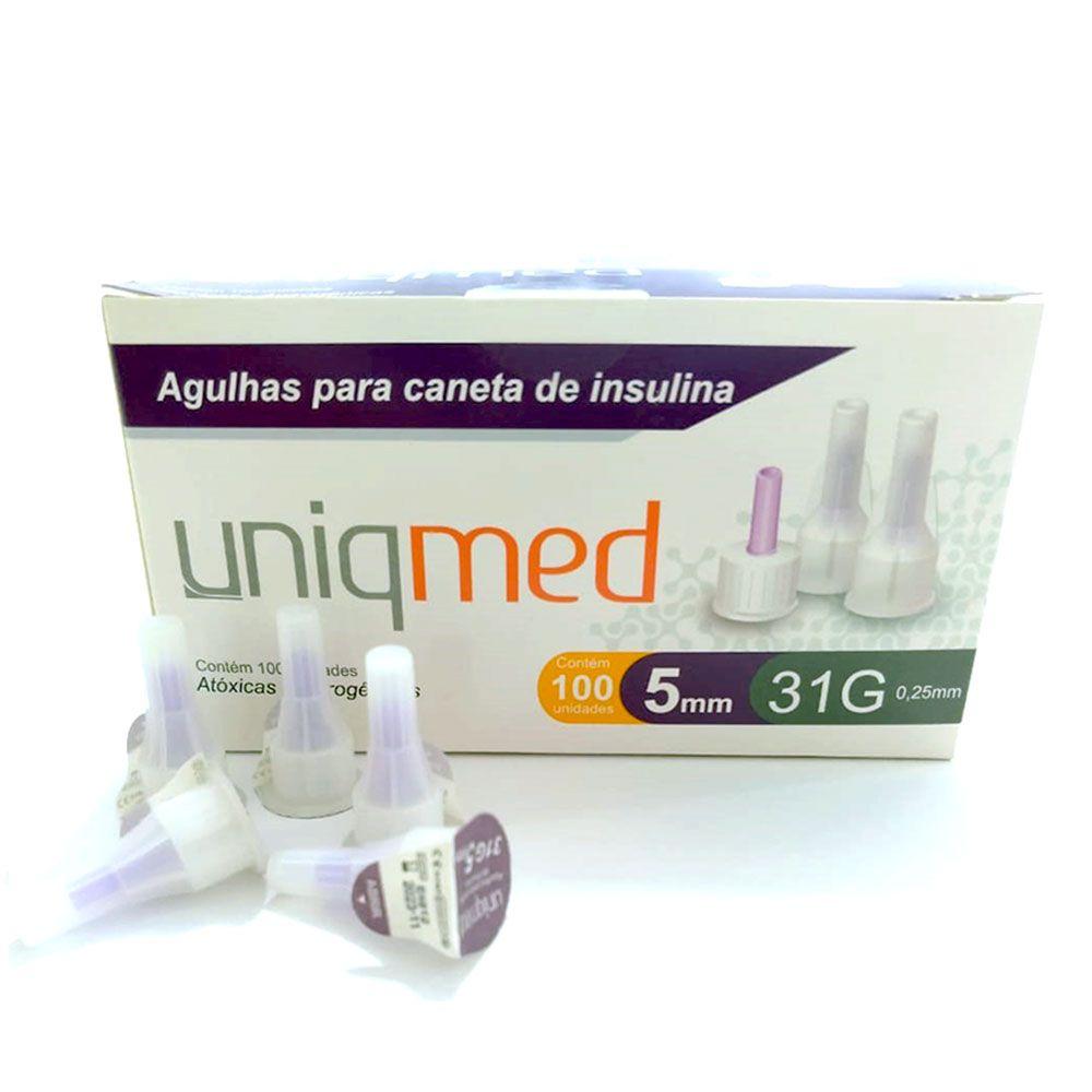 Agulha para Caneta de Insulina c/100 Unidades 5mm 31G Uniqmed