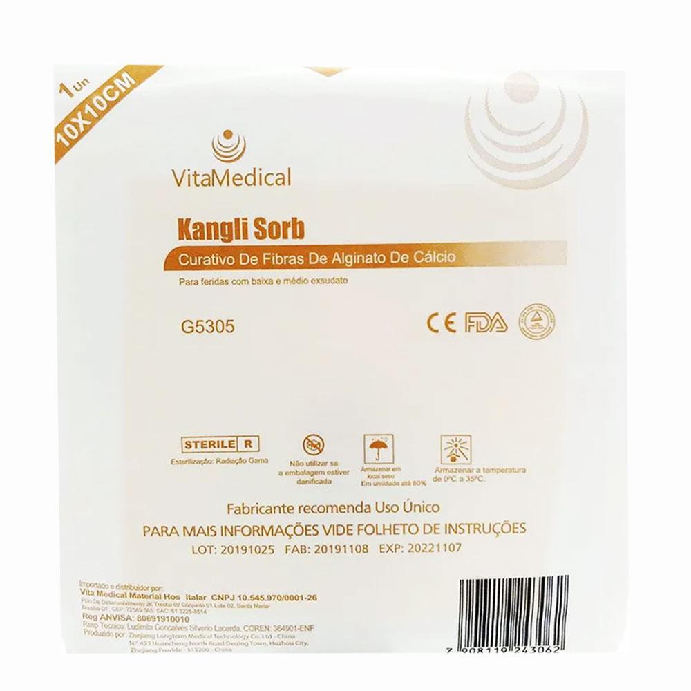 Curativo Alginato de Cálcio e Sódio 10x10 Kangli Sorb VitaMedical