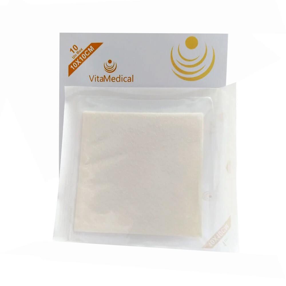 Curativo Alginato de Cálcio e Sódio 10x10 Kangli Sorb VitaMedical- 10 Unidades