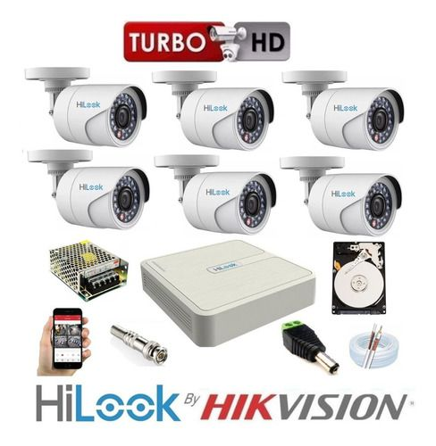 Kit Hilook By Hikvision 6 Cam Full Hd 2.8mm Dvr 08c Turbo Hd