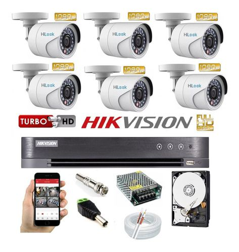 Kit Hikvision 6 Cam Hilook Full Hd 1080p Dvr 8c K1 Turbo Hd
