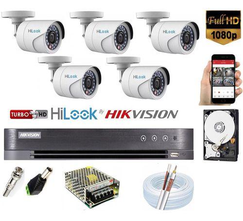 Kit Hikvision 5 Cam Hilook Fullhd 1080p E Dvr 8c Turbo Hd K1