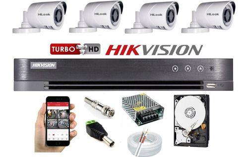 Kit Hikvision 4 Cam Hilook Fullhd E Dvr 04ch K1 Turbo Hd 1tb