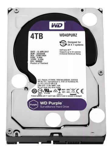 Hd 4tb Western Purple Intelbras Wd Cftv Dvr Wd40purz